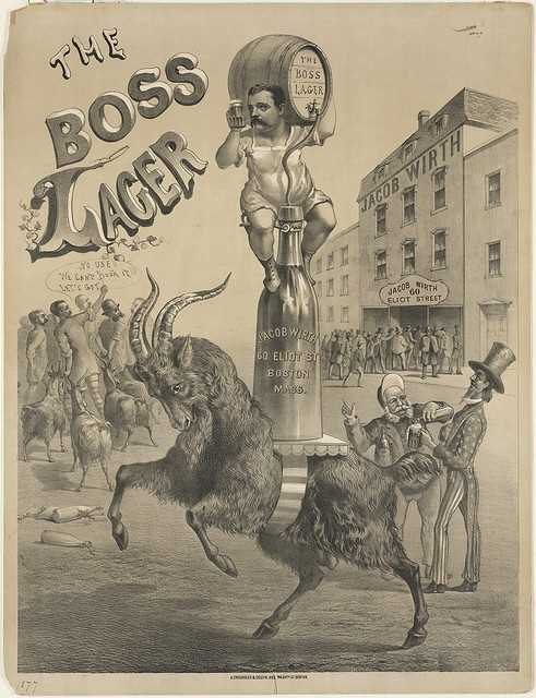 The Boss Lager is an advertising poster for Boston's famed Jacob Wirth restaurant, which was founded in 1868.