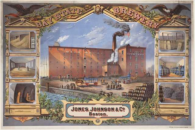 Bay State Brewery, Jones, Johnson & Co., Boston is shown in this 1880 poster showing red brick brewery buildings, center, with a banner bearing brewery name above, flanked by eagles.