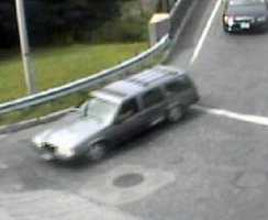A potential witness vehicle to the fatal cyclist crash on Weston Road near Linden Street in Wellesley on Aug. 24, 2012. An older model Volvo station wagon with damage to the rear driver side door. The driver of this car did contact police.