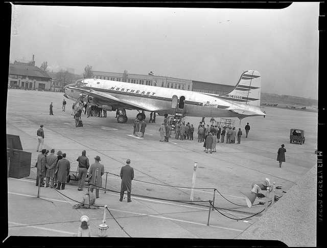 In 1944, two airlines operate at the airport: Northeast flies to Maine, New Hampshire, Vermont and Canada while American Airlines flies to New York.