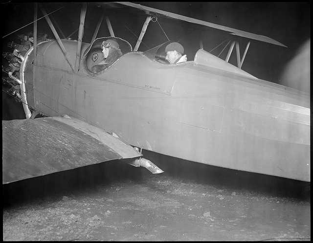 """Amelia Earhart, seen here in the""""Fokker Friendship plane,"""" comes to Bostonafter being the first woman to fly the Atlantic."""