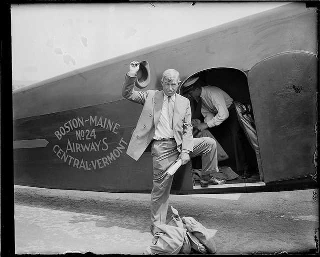 Will Rodgers -- American cowboy, vaudeville performer, humorist, social commentator and motion picture actor -- boards a Boston plane in 1935.