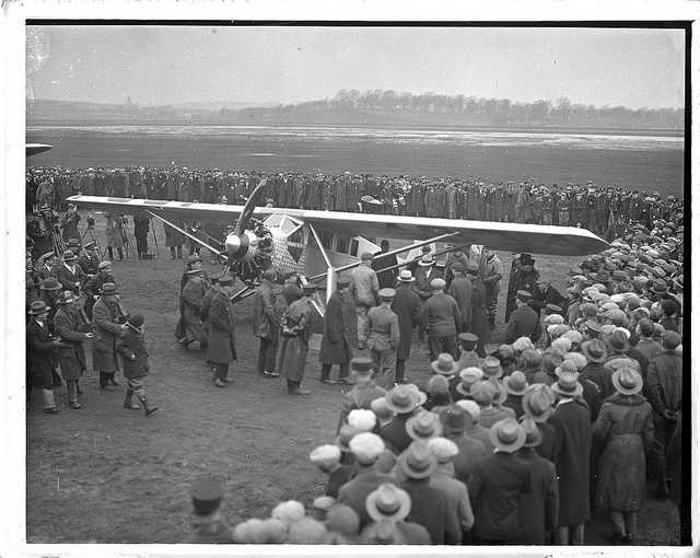 This 1928 picture shows the fanfare surrounding Charles Lindberg's arrival in Boston.