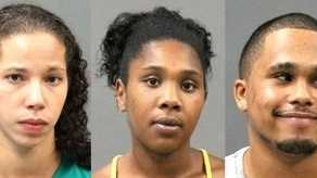 Left to right are Courtney Johnson, Tara Dickerson and Ryan Scott, all arrested on drug charges by Barnstable police.