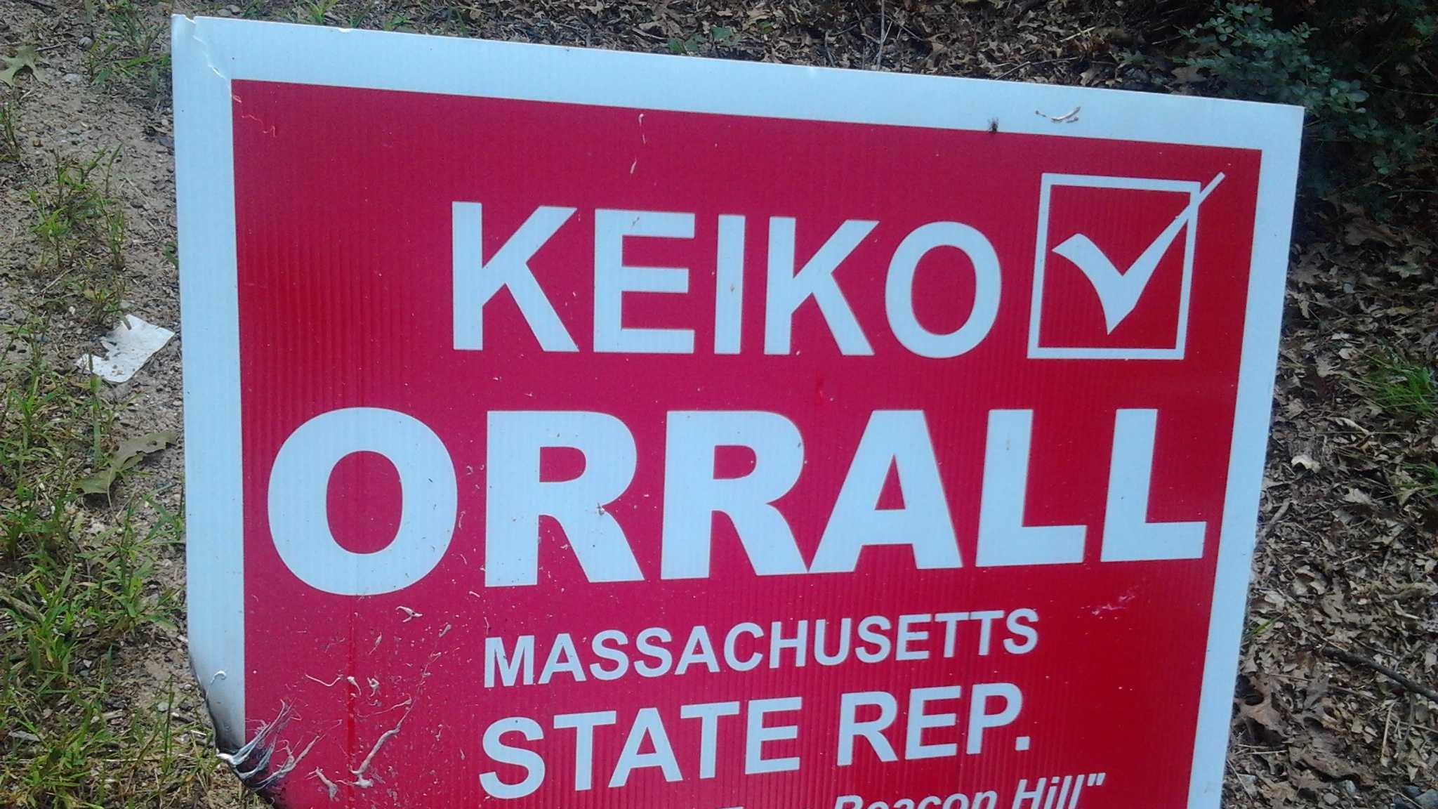 Vandals set fire to Mass. State Rep. Keiko Orrall's campaign sign.