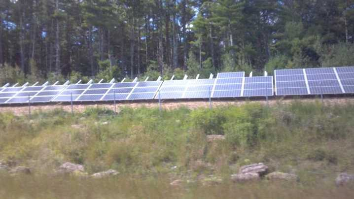 Twenty-three panels were stolen from the top row of this solar installation on Route 44 in Carver that powers the North Carver water-treatment plant.