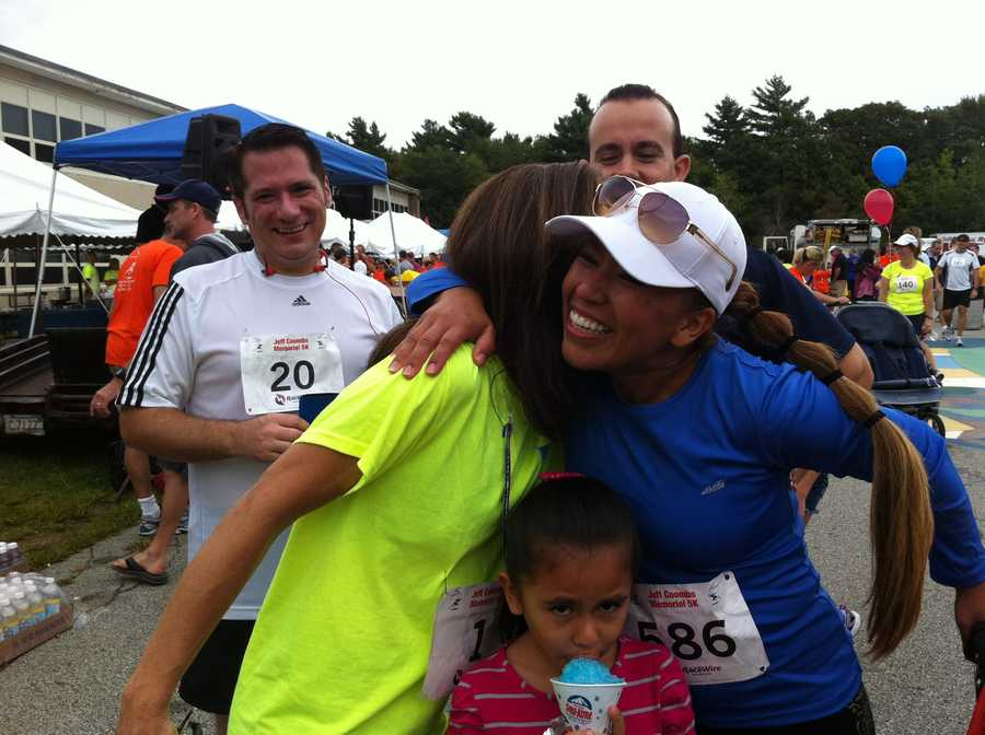 Christie Coombs thanks a runner.