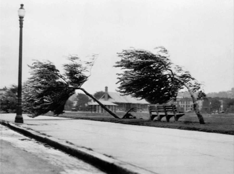 A photo from South Boston shows tremendous 100-mile-an-hour hurricane force winds which struck New England