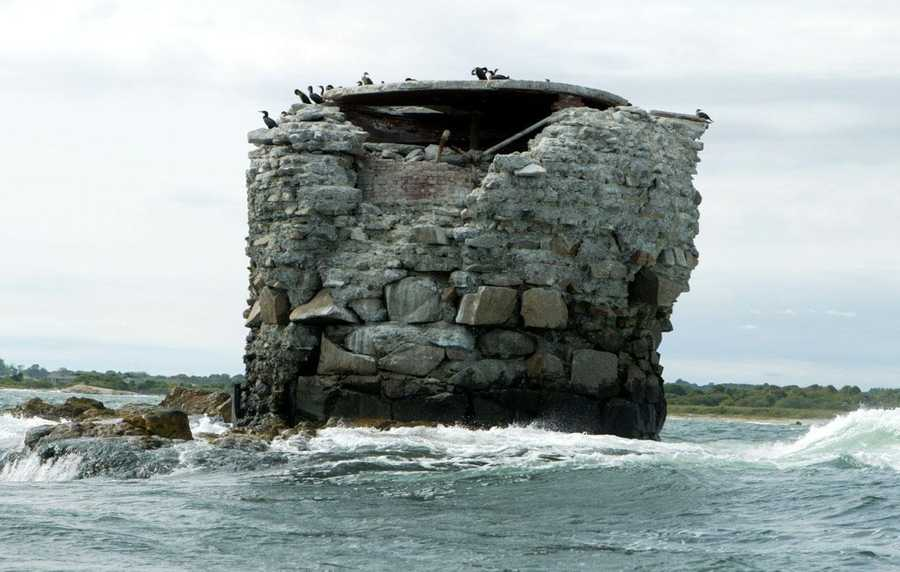 The base of the Whale Rock Lighthouse in Rhode Island, which was destroyed by the 1938 hurricane.