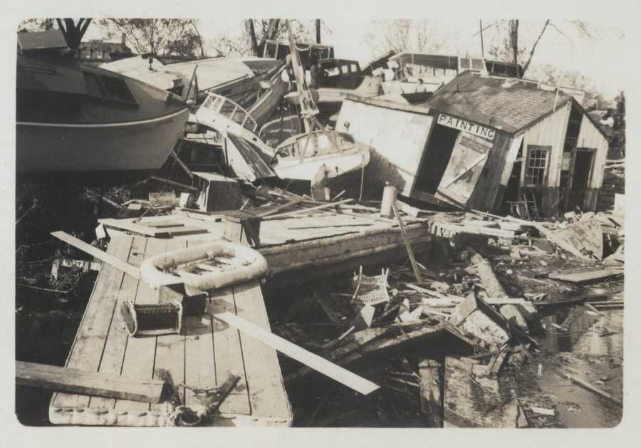The waterfront of Pawtuxet Cove was devastated by the storm surge of the New England Hurricane of 1938.