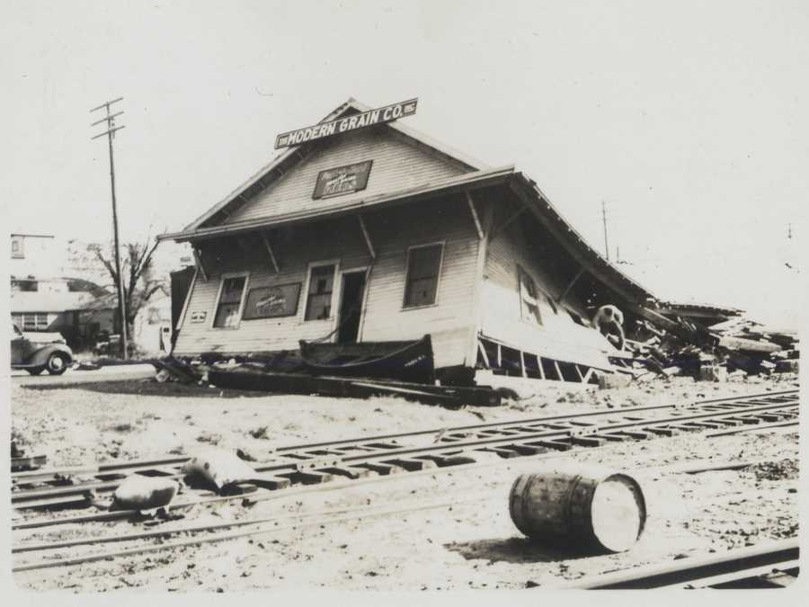 The Modern Grain Company building at India Point in the upper reaches of Narragansett Bay was destroyed by the storm surge. New England Hurricane of 1938.