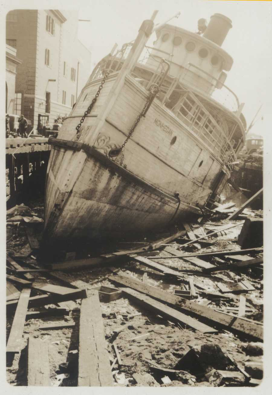 The tug Monhegan left high and dry by storm surge in Providence, RI. New England Hurricane of 1938.