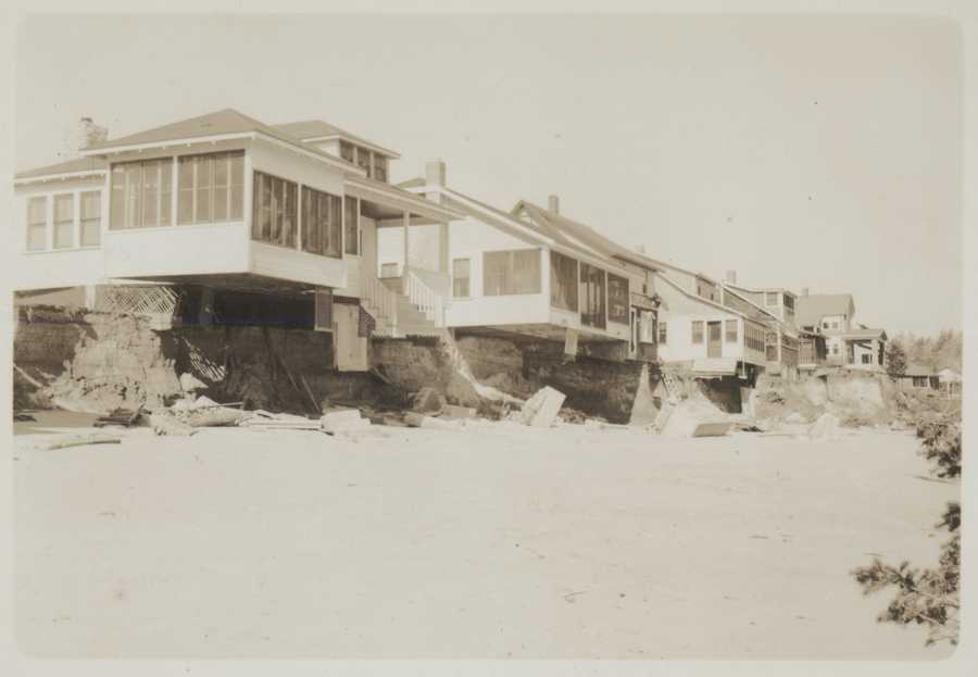 Bay Ridge homes undercut by erosion caused by New England Hurricane of 1938.