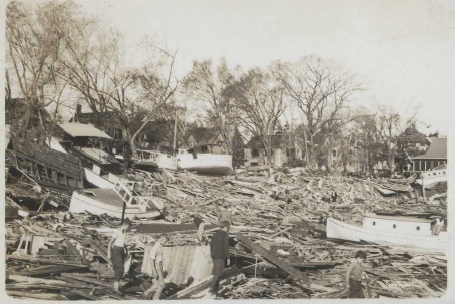 Harbor area destroyed by storm surge. New England Hurricane of 1938.