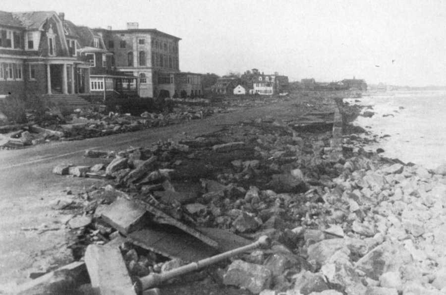 The seawall at Narragansett Pier, southern Rhode Island. In spite of its destruction, it appears that the seawall saved the seaside homes.