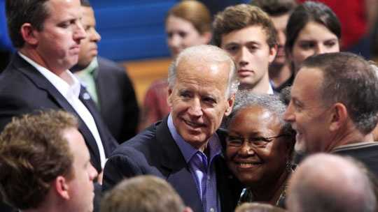 Vice President Joe Biden greets supporters during a campaign stop, Saturday, Sept. 22, 2012 in Merrimack, N.H.