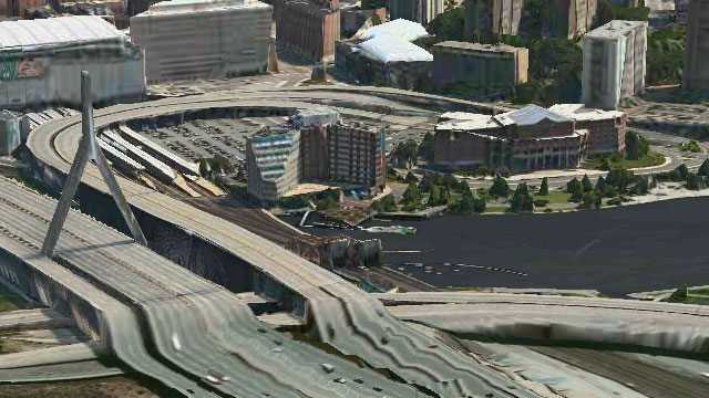 The Zakim Bridge as pictured in Apple's 3D maps.