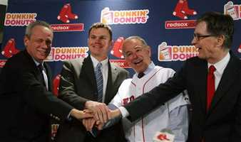 After what was a rocky off-season for the Red Sox, the club provided some winter excitement on Decemeber 1st, when they hired Bobby Valentine as manager. Pictured here is Red Sox President Larry Lucchino, General Manager Ben Cherington, Valentine, and majority owner John Henry during happier times.