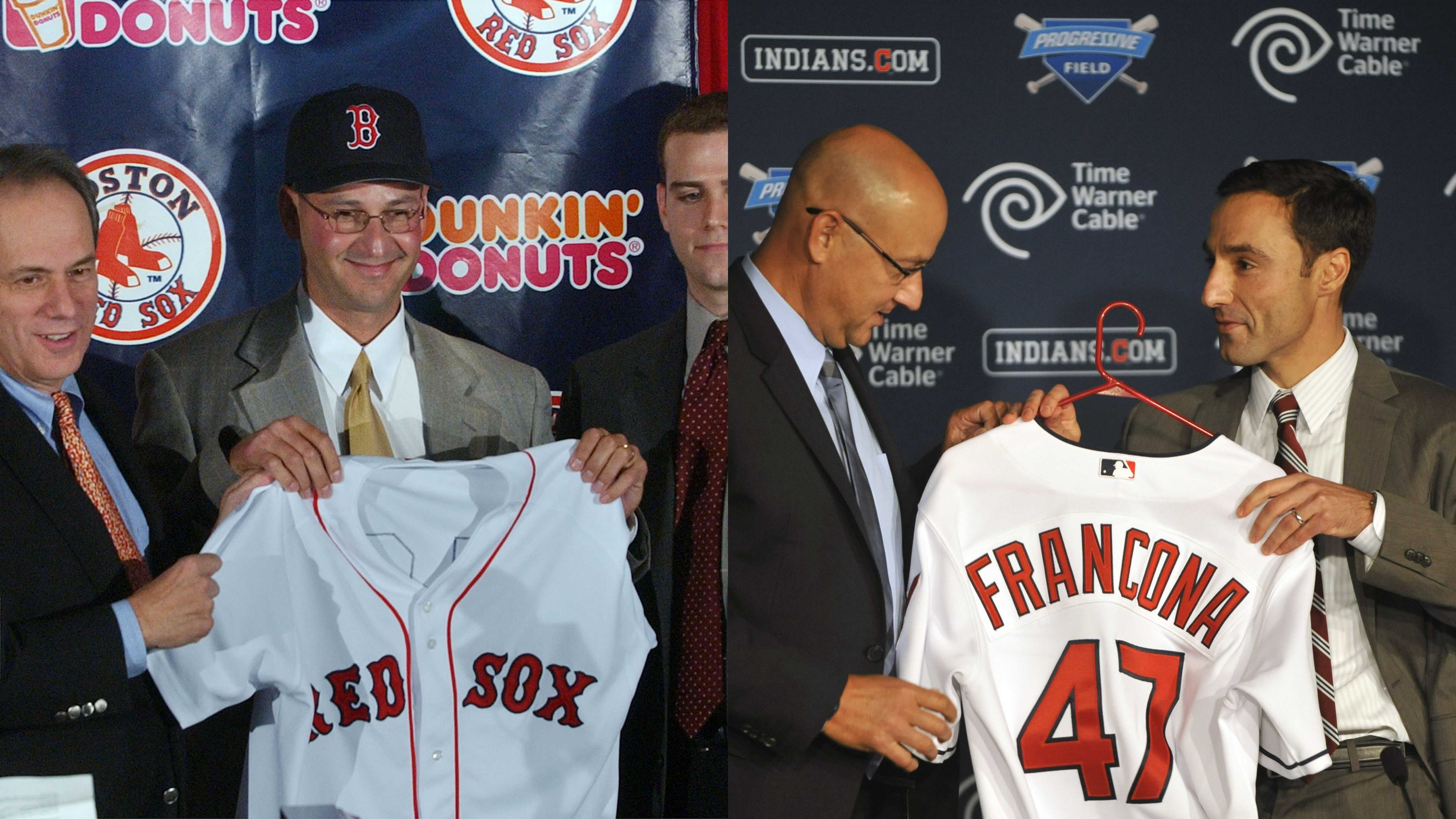 Leftt:Terry Francona shows his new Boston Red Sox uniform during a news conference at Fenway Park in Boston, Thursday, Dec. 4, 2003. Right: Cleveland Indians general manager Chris Antonetti, right, presents new manager Terry Francona with a baseball jersey during a news conference at Progressive Field, Monday, Oct. 8, 2012.