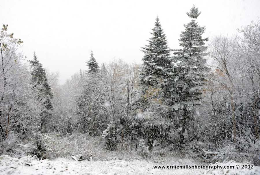 It's only October and snow is covering the area.