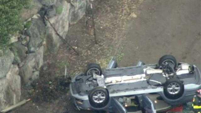Police, fire and paramedics were at the scene of a crash that left a car on its roof at a Lexington farm on Friday.