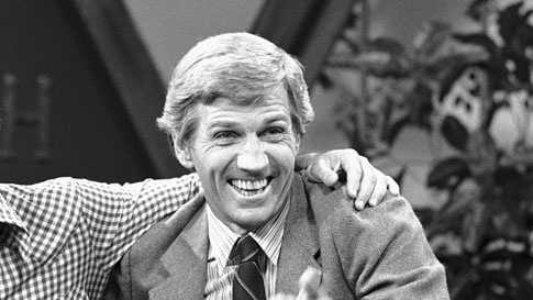 "Actor and talk show host Gary Collins, right, reacts to a joke told on the set of ""Hour Magazine"" in Los Angeles during a break in taping Wednesday, July 30, 1981 with guest Burt Reynolds. Reynolds was promoting his new film Paternity. The syndicated show will air September 15."