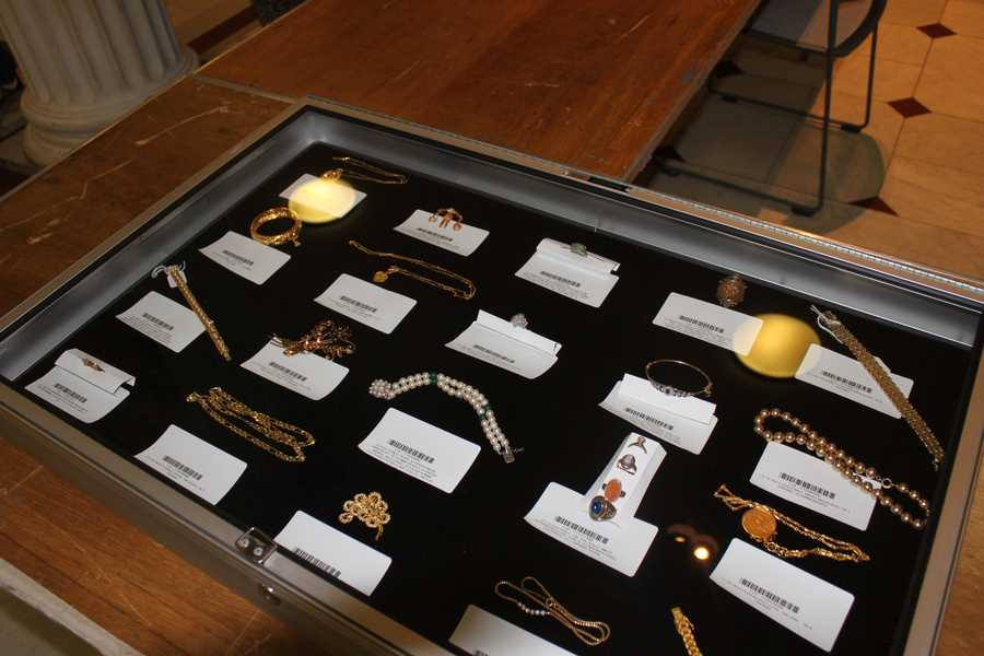 The items went on display at the Statehouse in Boston.