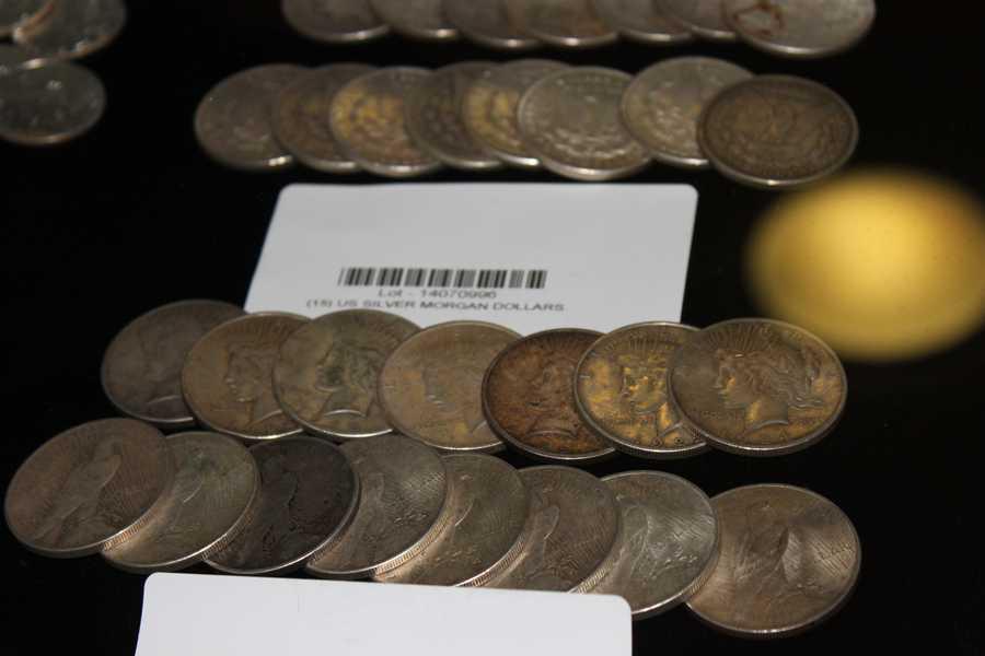 Silver Morgan dollars.