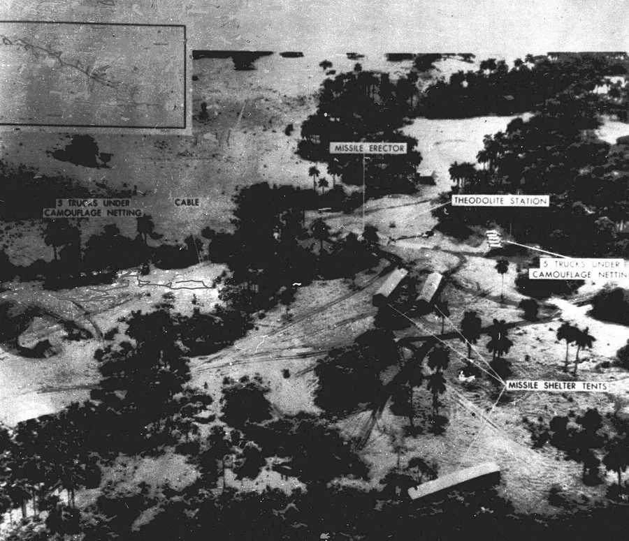 The world stood at the brink of Armageddon for 13 days in October 1962 when President John F. Kennedy drew a symbolic line in the Atlantic and warned of dire consequences if Soviet Premier Nikita Khrushchev dared to cross it. This is a low level photograph made Oct. 23, 1962 of the medium range ballistic missile site under construction in the San Cristobal area of Cuba.