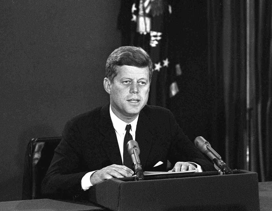 President John F. Kennedy makes a national television speech October 22, 1962, from Washington, informing the American pubic about the existence of the missles. He confronted the Soviet Union by announcing a naval blockade of Cuba until the missiles were removed.