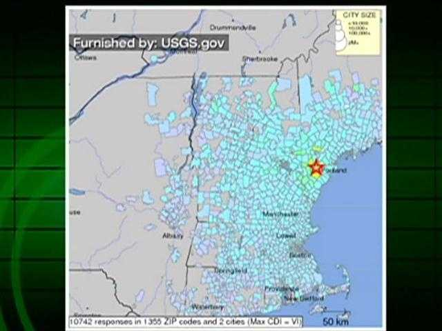 A map of where people reported feeling the quake.