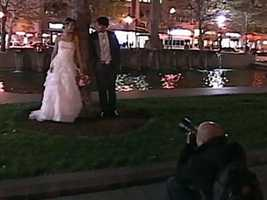 This couple was having wedding pictures down when the quake hit.