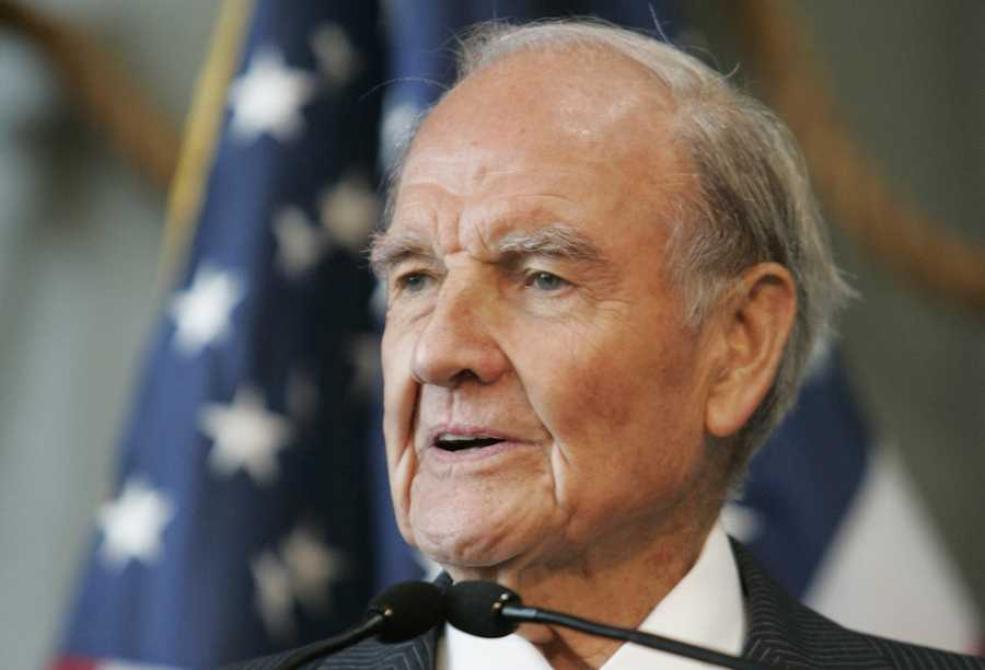 George McGovern was a bomber pilot in World War II who became an early critic of the Vietnam War and a leader of the Democrats' liberal wing.  He lost the presidential election in 1972 to Richard Nixon in an historic landslide. (July 19, 1922 – October 21, 2012)