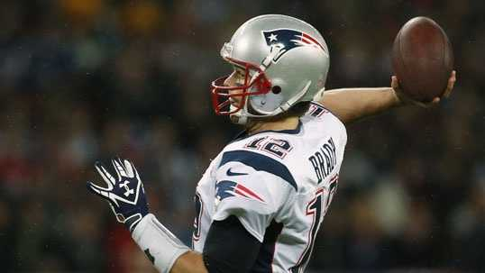 New England Patriots quarterback Tom Brady, in action during the first half of a NFL football game at Wembley Stadium, London, Sunday, Oct. 28, 2012.