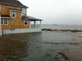 Flooding on Rebecca Road in Scituate Monday morning.