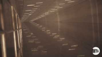 You can see how fast the water completely fills up the entire tunnel as you go toward the mid-point.The Brooklyn Battery Tunnel isat 9,117 feet, making it the longest continuous underwater vehicular tunnel in North America.