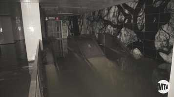 These escalators would carry passengers up and down the several stories underground the train platform is located.