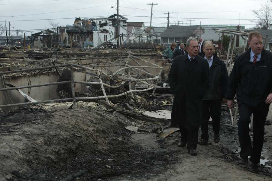 Mayor Bloomberg tours some of the areas hit hardest by Hurricane Sandy.
