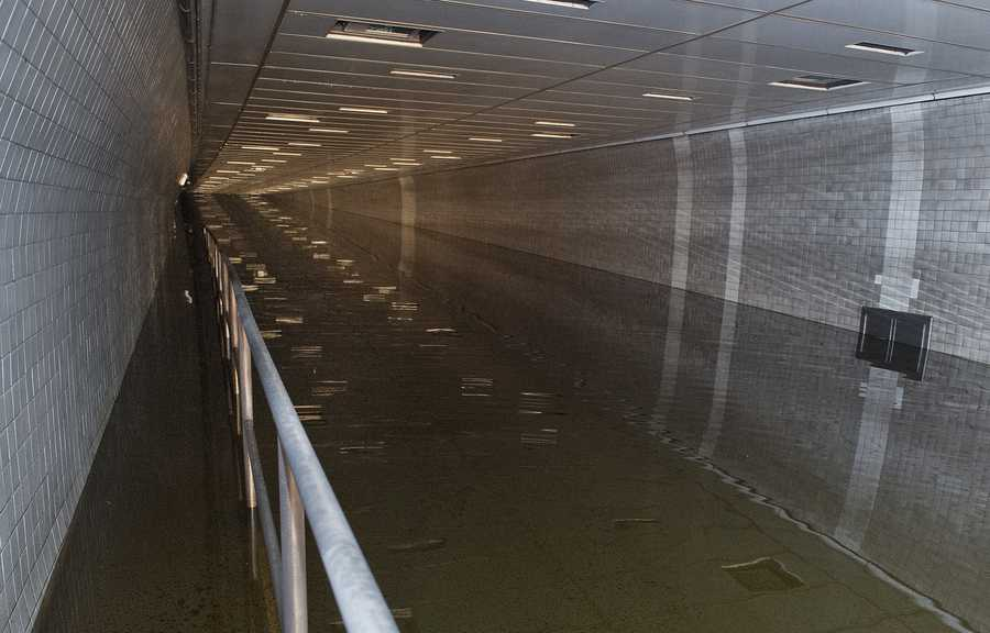 Flooding inside the Brooklyn-Battery Tunnel which connects lower Manhattan with Brooklyn.