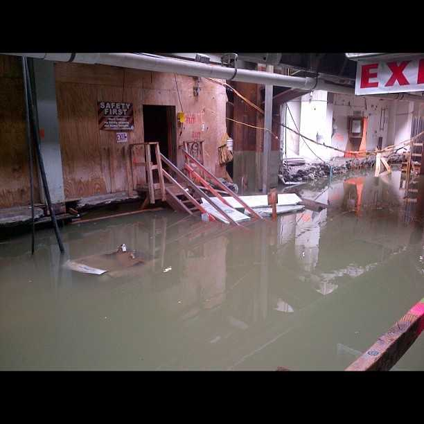 Flooding inside the PATH Station at New York City's World Trade Center.
