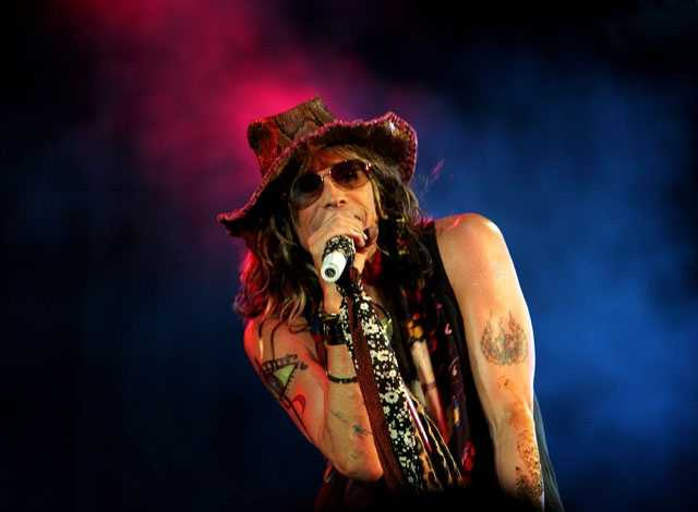 American rock band Aerosmith's lead vocalist Steven Tyler performs during a concert in Bangalore, India, Saturday, June 2, 2007. The band performed in Bangalore on Saturday for the first time in the country, where they played some of the best compositions from the band's 33 year history.