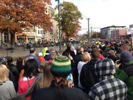 Thousands of fans line up on Comm Ave for the show.