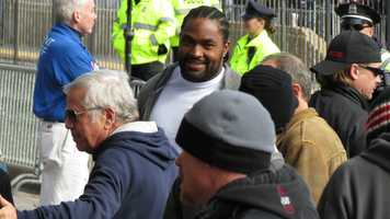 Pats linebacker Jerod Mayo with Bob Kraft