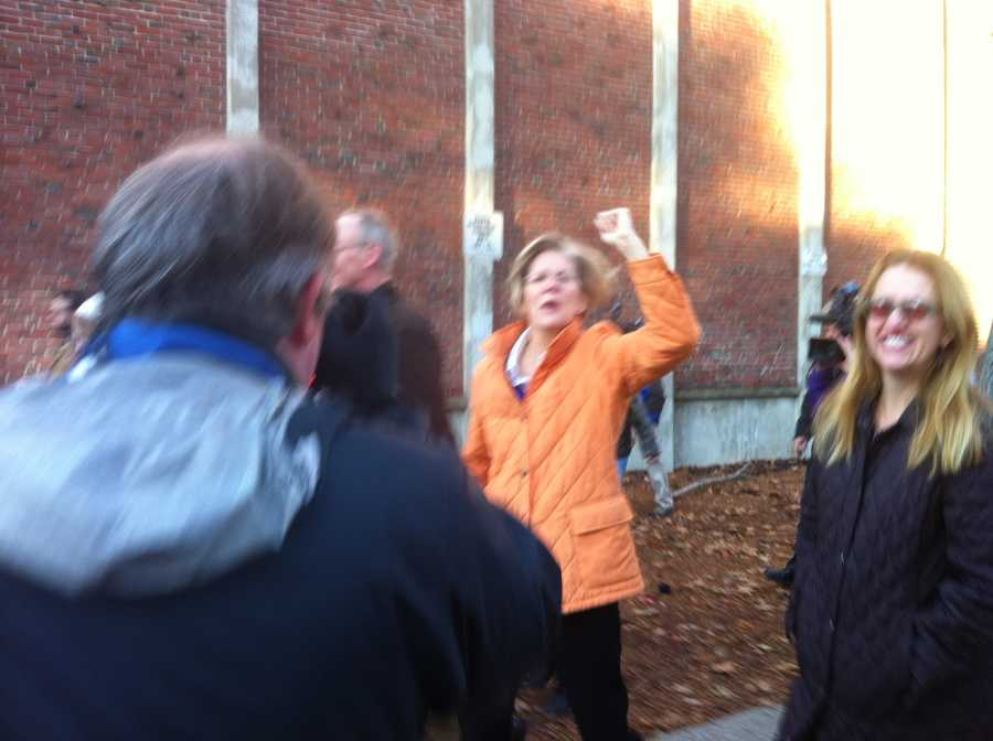 Democrat Elizabeth Warren heads to the polls.