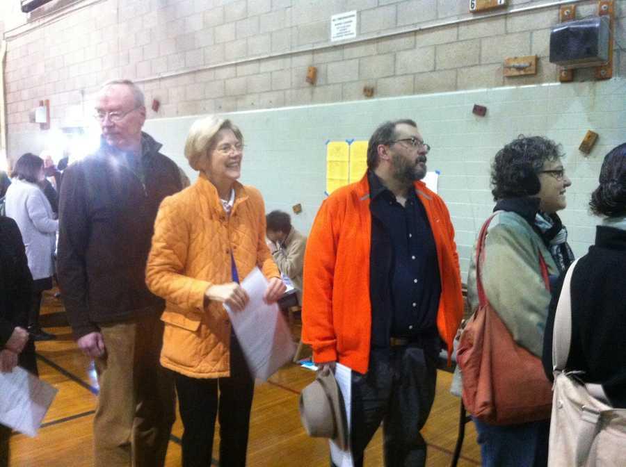Warren waits to cast her ballot.