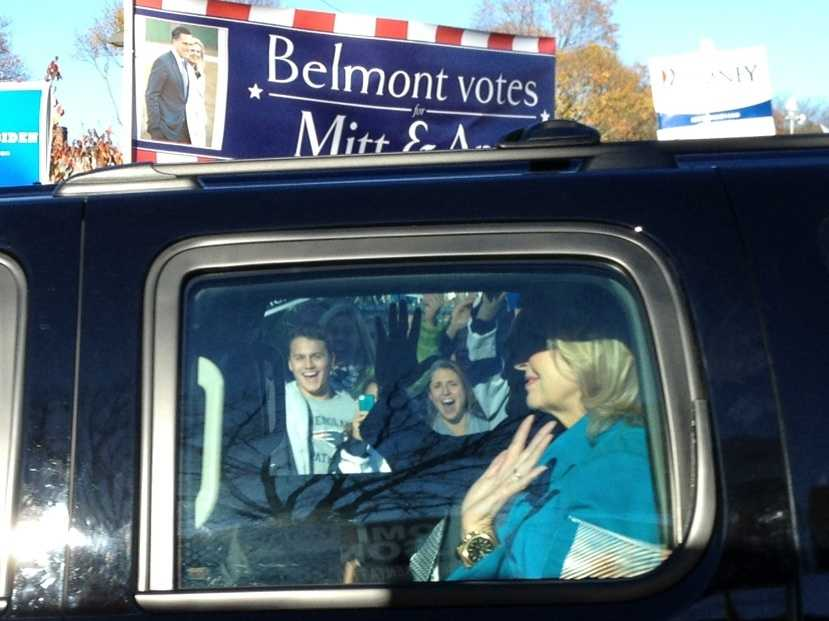 Ann Romney after voting in Belmont.