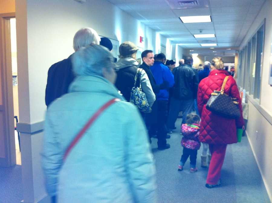 Very long lines as the polls open in Milton