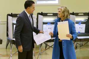 Republican presidential candidate, former Massachusetts Gov. Mitt Romney, and his wife Ann Romney vote at a polling station in Belmont.