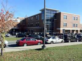 Long lines at the Lilla Fredrick Middle School, Dorchester