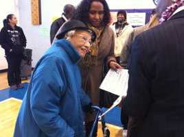 106-year-old Elizabeth Hinton gets her ballot in Dorchester